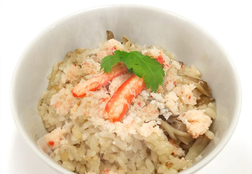 手軽に摂れるたんぱく質「カニ缶とマイタケの炊き込みご飯」のアイキャッチ