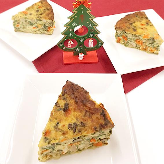 栄養たっぷりにクリスマスを彩ろう「キノコのキッシュ風」のアイキャッチ